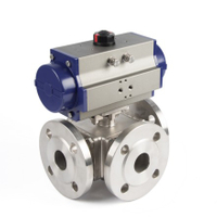 Pneumatic 3-Way Flange Ball Valves