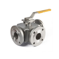 Hand Lever 3-Way Flange Ball Valves