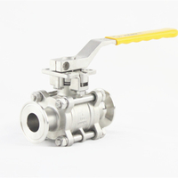 3-Piece Handle Lever Stainless Steel Clamp Ball Valve