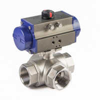 Pneumatic 3-Way Thread Ball Valves
