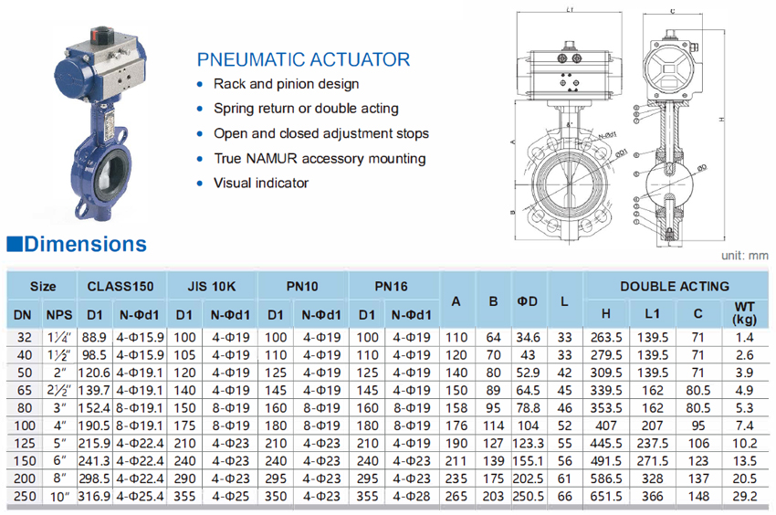 1 Inch Pneumatic Actuator Wafer Butterfly Valve